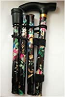 Black Floral Lightweight Walking Stick