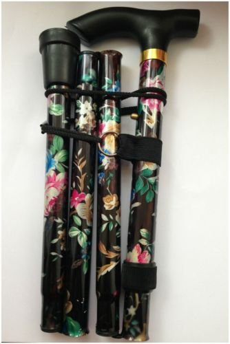 black-floral-lightweight-walking-stick