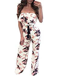 monos mujer, Sannysis Impresión floral sin mangas monos de vestir, Pantalones largos (M, Multicolor)