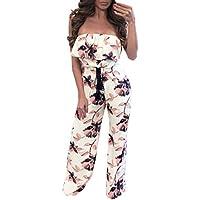 Sannysis Monos Mujer, Impresión Floral sin Mangas Monos de Vestir, Pantalones Largos (XL