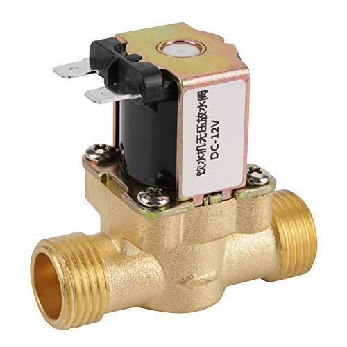 Akozon Magnetventil, 12V BSPP G1/2 Messing N/C normalerweise geschlossenen Elektrischen Magnetventil 2-Wege-Druckregelventil - 2 Magnetventil