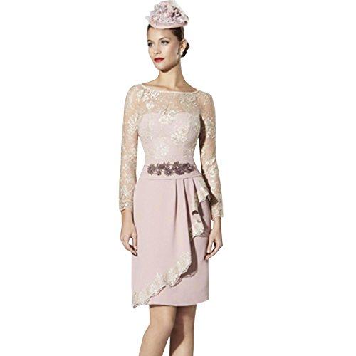 dressvip Round Neck 3/4 Sleeves Dark Pink Lace Layered Formal Dress Knee Long Test