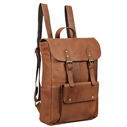STILORD 'Manila' Vintage Leder Rucksack Damen Herren XL Lederrucksack DIN A4 braune Rucksackhandtasche mit 15,6 Zoll Laptopfach großer Daypack aus echtem Leder, Farbe:sattel - braun