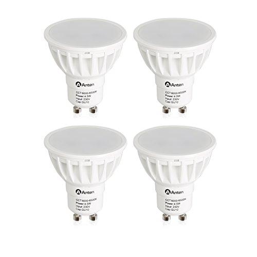 GOGO GO Confezione da 4 lampadina faretto LED GU10,4.5Watt,fiamma bianca alta trasmissione Bianco Equivalenti a (Illuminazione Della Pista)