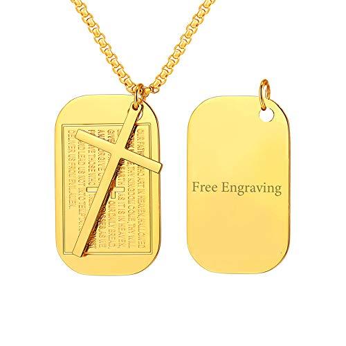 FaithHeart Silber Hundemarke Halskette für Männer Platinum-Plated Kette mit Anhänger Kreuz Kruzifix Saint Michael Pendant Länge: 50cm (+ 5cm),Gravur-Geschenke