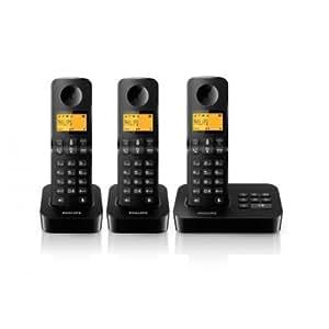 Philips D2053B/FR Téléphone fixe sans fil + 3 combinés avec répondeur + haut-parleur Noir