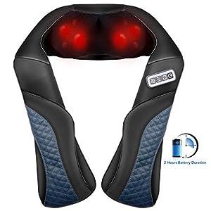 MaxKare Massaggiatore ricaricabile senza cavi Maxkare spalle e il collo massaggiatore massaggio massaggio shiatsu nodi 3D con rotazione bidirezionale e calore opzionale per alleviare i dolori muscolari