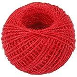 Gomaz 50M Cinta de regalo, diseño de cuerda de cáñamo cordel cuerda cable cuerda bola rojo