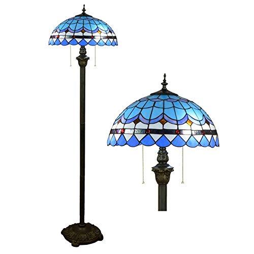 MTCTK Blaue mediterrane Tiffany-Stehlampe 2 Leuchten Buntglas-Leuchte Innenbeleuchtung dekoratives Licht 40 * 162CM -