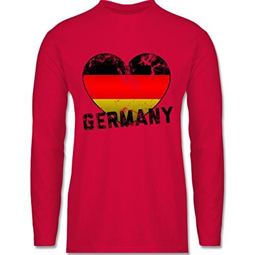 Shirtracer Fußball-WM 2018 - Russland - Germany Herz Vintage - Herren Langarmshirt Rot