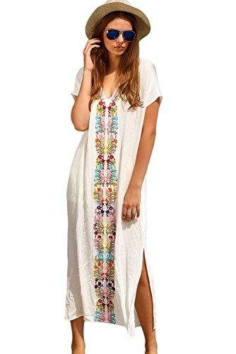 Damen Sexy Weiß Platzierung Bestickt Drucken Teilt Seite Maxi Kleid Poncho Badeanzug (Crepe-kleid Festes)