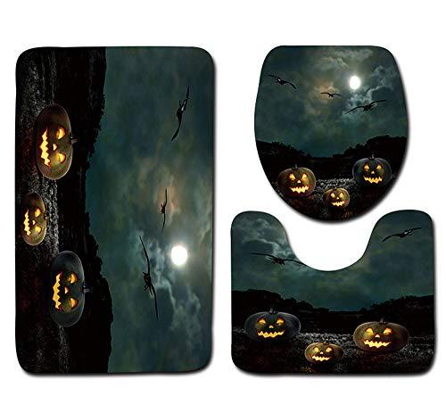 VEMOW Heißer Verkauf Halloween Schwarze Katze WC Sitzbezug und Teppich Badezimmer Set Halloween Decor(B, 45cmX37.5cm(Tankdeckel))