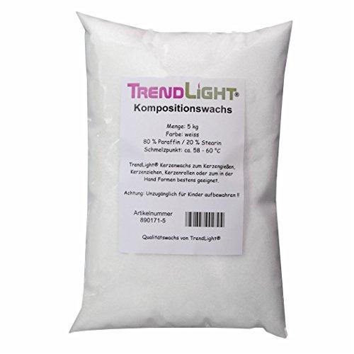 TrendLight 890171-5 Kompositionswachs, 80% Paraffin und 20% Stearin, Wachsmischung, 5 kg