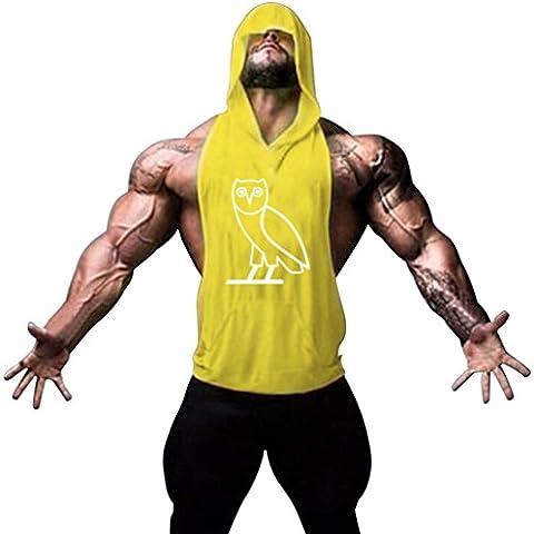 Gillbro Mens Bodybuilding Stringer con cappuccio palestra Tank Top con cappuccio Gilet modello dell