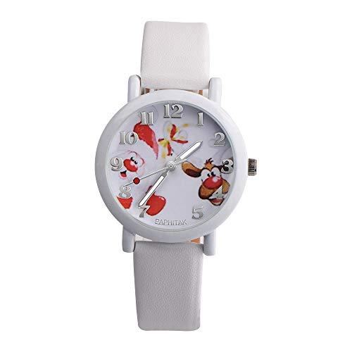 YULINGSTYLE Uhren Mode Weihnachten ältere Muster Lederband Analog Quarz Vogue UhrenBunte Uhren Elektronische Kinderuhr - Vogue Herren Muster