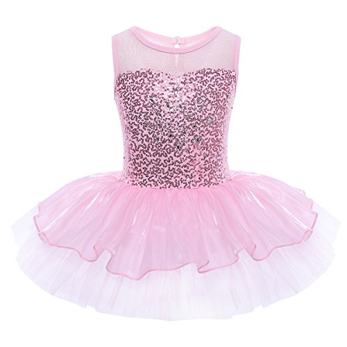 iEFiEL Mädchen Kleid Ballettkleid Kinder Ballett Trikot Ballettanzug mit Tütü Röckchen Pailletten Kleid in Weiß Rosa Türkis (110-116, Pink) (Tanzen Kostüm Kinder)