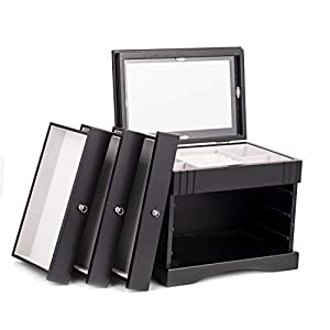 Schmuckkasten Holz Schmuckkästchen Schmuckkoffer mit 3 Schubladen 28 * 18 * 23cm DMG01BK
