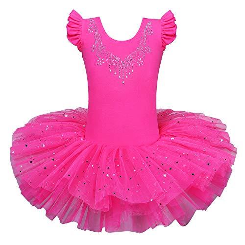 ZNYUNE Mädchen Kinder Ballettkleid Ballettanzug Trikot Leotard Ballettbekleidung Ballettbody HeißesRosa 4-5 Jahre