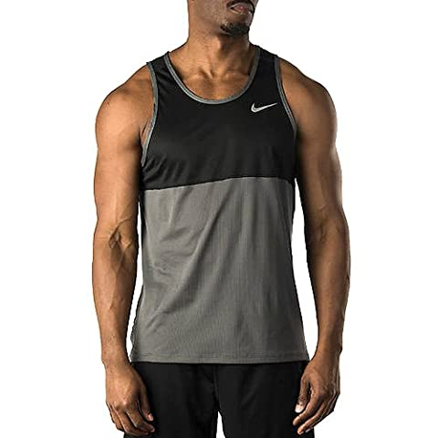 Nike Racer Singlet Men's Tank Top, Men, Ärmelloses Shirt Racer, Dark Grey/Black/Reflective Silv