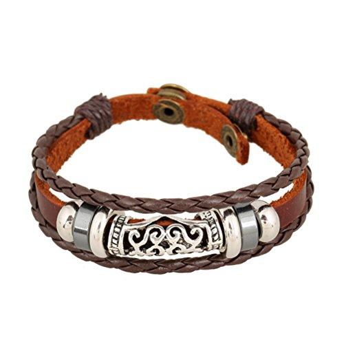 adiasen 1Handmade Weave Bead Herz Rindsleder Vintage Punk Armband Armband für Frauen Herren Junge Mädchen verstellbar Schmuck Zubehör