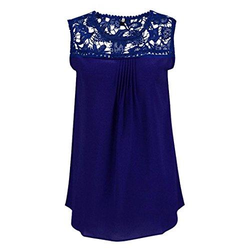 Camisetas sin mangas,Culater mujer chaleco de la gasa del cordón (L, Azul)