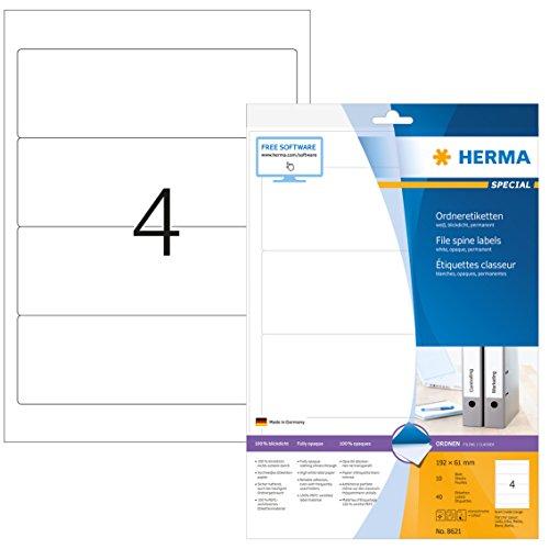 Herma 8621 Ordnerrücken Etiketten blickdicht, breit/kurz (192 x 61 mm) 40 Ordneretiketten, 10 Blatt DIN A4 Papier matt, weiß, bedruckbar, selbstklebend