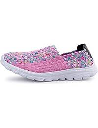 YEEY Mujeres tejidas peso ligero elástico entrenador comodidad resbalón en zapatos de agua deporte tejer zapatos deportivos zapatillas zapatos cómodos