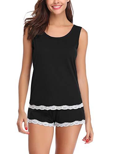Aibrou Damen Schlafanzug Kurz Sommer Pyjama Baumwolle Spitze Nachtwäsche Sleepwear mit Ärmlos Tanktop und Shorts SchwarzXL (Damen-pyjama)