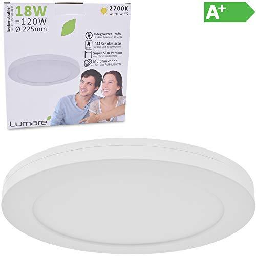 Lumare LED Deckenleuchte 18W Extra Flach rund 1620lm 225mm ersetzt 120W IP44 Deckenlampe für Wohnzimmer Badezimmer Küche Flur Keller Bad Wandleuchte Einbaustrahler modern warmweiß