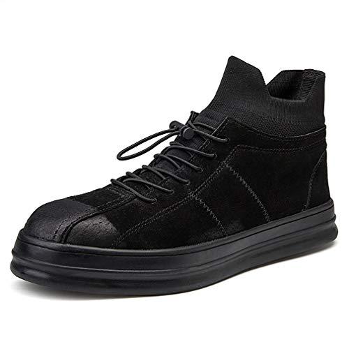 YAN Herbst Herrenschuhe Wildleder Elastische Socken Schuhe High-Top Deck Schuhe Mode Sport Atmungsaktive Schuhe Casual/Daily Wanderschuhe,Black,40 - Wildleder Deck Shoes