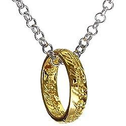 Inception Pro Infinite Collar con Anillo, el señor de los Anillos, Color Dorado y Plateado - Idea de Regalo