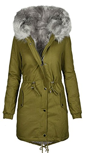 Golden Brands Selection Warme Damen Winter Jacke Winterjacke Parka Teddyfell gefüttert Mantel B432 [B432-Grün-Grau-Gr.M]