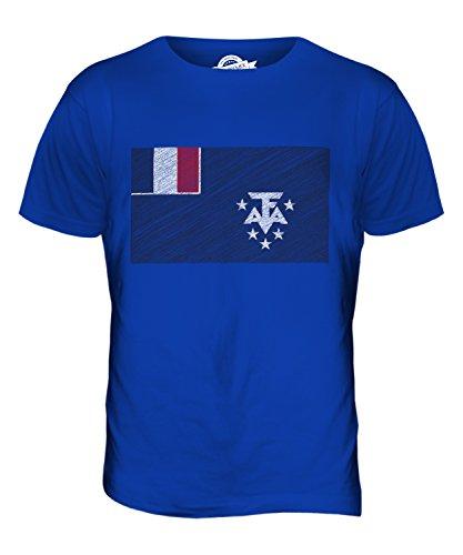 CandyMix Französische Süd- Und Antarktisgebiete Kritzelte Flagge Herren T Shirt Königsblau