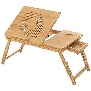 Songmics Tavolino da letto per PC notebook pieghevole portatile con piano inclinabile, bambù, 55 x 35 x 29cm Tavolino D'Appoggio LLD002