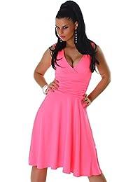 Jela London Damen Kleid Dress V-Auschnitt breite Träger knielang