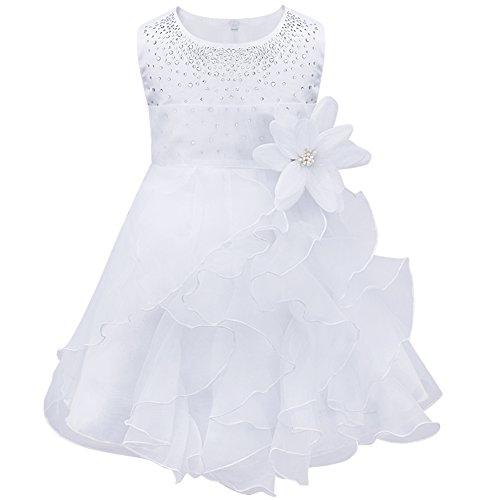 YiZYiF Baby Kinder Mädchen Kleid festlich Brautjungfern Party Festzug Hochzeit Kleidung Gr. 62-98 (62-68, Weiß)