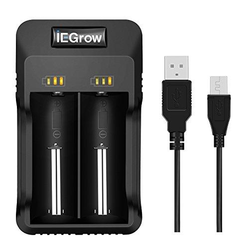 iEGrow 2-Bay Intelligent Li-ion Akku Ladegerät mit LED for 26650, 18650, 18500, 18350, 17670, 17500, 16340, 14500, 10440 3.7V Lithium Batterien - 18650 Lithium-batterie