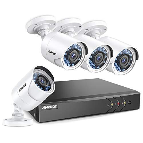 SANNCE 4CH 1080P DVR Video Recorder Überwachung mit Festplatte, 1TB + (4) 1920* 1080P 2.0MP Kamera Dome--Überwachungskamera Weatherproof, Alarm per Mail, Nachtsicht bis 100Füße
