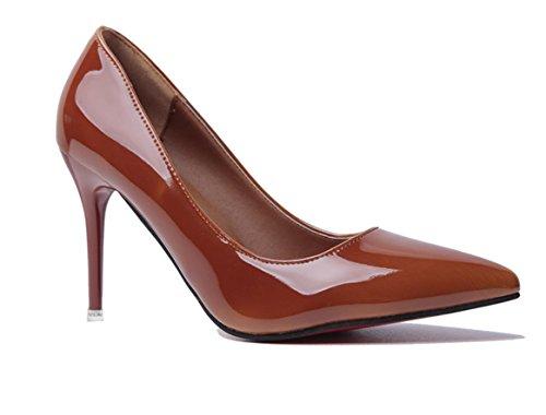 YCMDM FEMME Dégradé à deux couleurs pointues bouche superficielle en cuir à talons hauts banquet de mode avec des ensembles minces de chaussures Orange