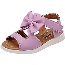 Sandalias niña ❤️ Amlaiworld Zapatos bebés Niños Sandalias de verano para niñas chica Zapatillas planas Bowknot zapatos princesa calzado (22, Púrpura)