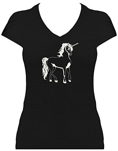 Fun Shirt Damen Glitzeraufdruck mit Einhorn Einhornshirt Unicorn JGA Shirt Junggesellinnenabschied Schwarz-Silber