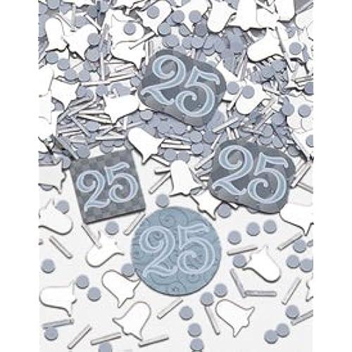 Silver wedding decorations amazon confetti mix 25th silver wedding anniversary decorations tableware cups accessories junglespirit Gallery