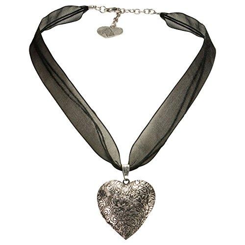 za-Trachtenkette Amulett-Herz Trachtenherz - Damen-Trachtenschmuck Dirndlkette schwarz DHK080 (Herz Trachten Schmuck)