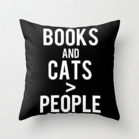 Decorativa Funda de almohada de libros de gatos y personas Funda de cojín (18x 18