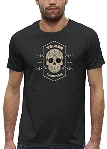 Junggesellenabschieds JGA Hochzeit Herren T-Shirt Bio Baumwolle Skull Team Bräutigam Anthrazite