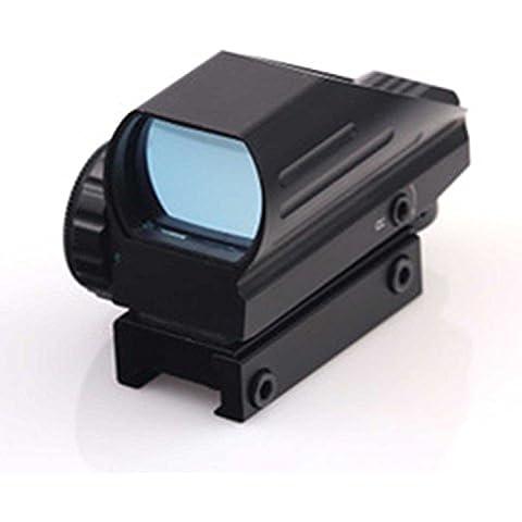 MAYMOC caza óptica compacta reflejo verde vista telescópica 4 retícula visor de punto rojo para Airsoft con Weaver 21mm montaje