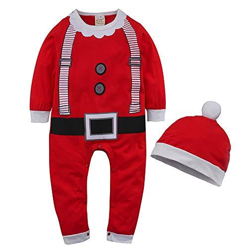 WEIMEITE 2PCS Neugeborenes Baby Jungen Mädchen Spielanzug Karikatur Weihnachtsoveralls Bebe Scherzt Kleidung Strampelanzüge + Hüte Säuglings Kleidungs Anzüge Rot 95cm