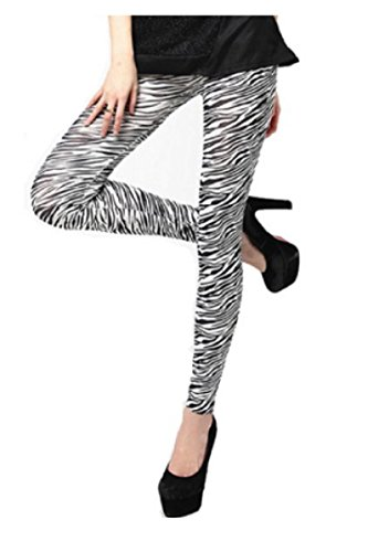 Destressed Leggings im Jeans Hose Tattoo look LG1006 Zebra-BK