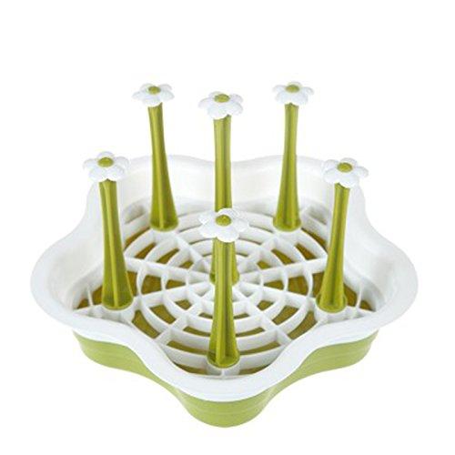 TOOGOO Botella de Bebe de Secado Estante Cocina Almacenamiento para 6 Tazas Porta Botella escurridor escurreplatos-Verde