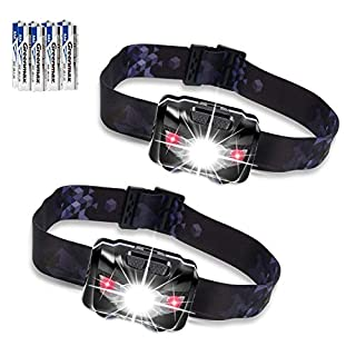 Akale LED Head Torch, Super Bright CREE LED Headlamp 2 Pack, 5 Modes, White & Red LED, 150LM, Water Resistant, Great for Running, Camping, Hiking & Fishing, 6 AAA Battery Included